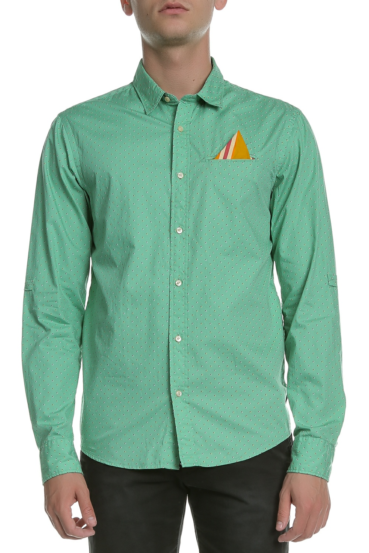 SCOTCH & SODA - Ανδρικό μακρυμάνικο πουκάμισο Scotch & Soda πράσινο πουά ανδρικά ρούχα πουκάμισα μακρυμάνικα
