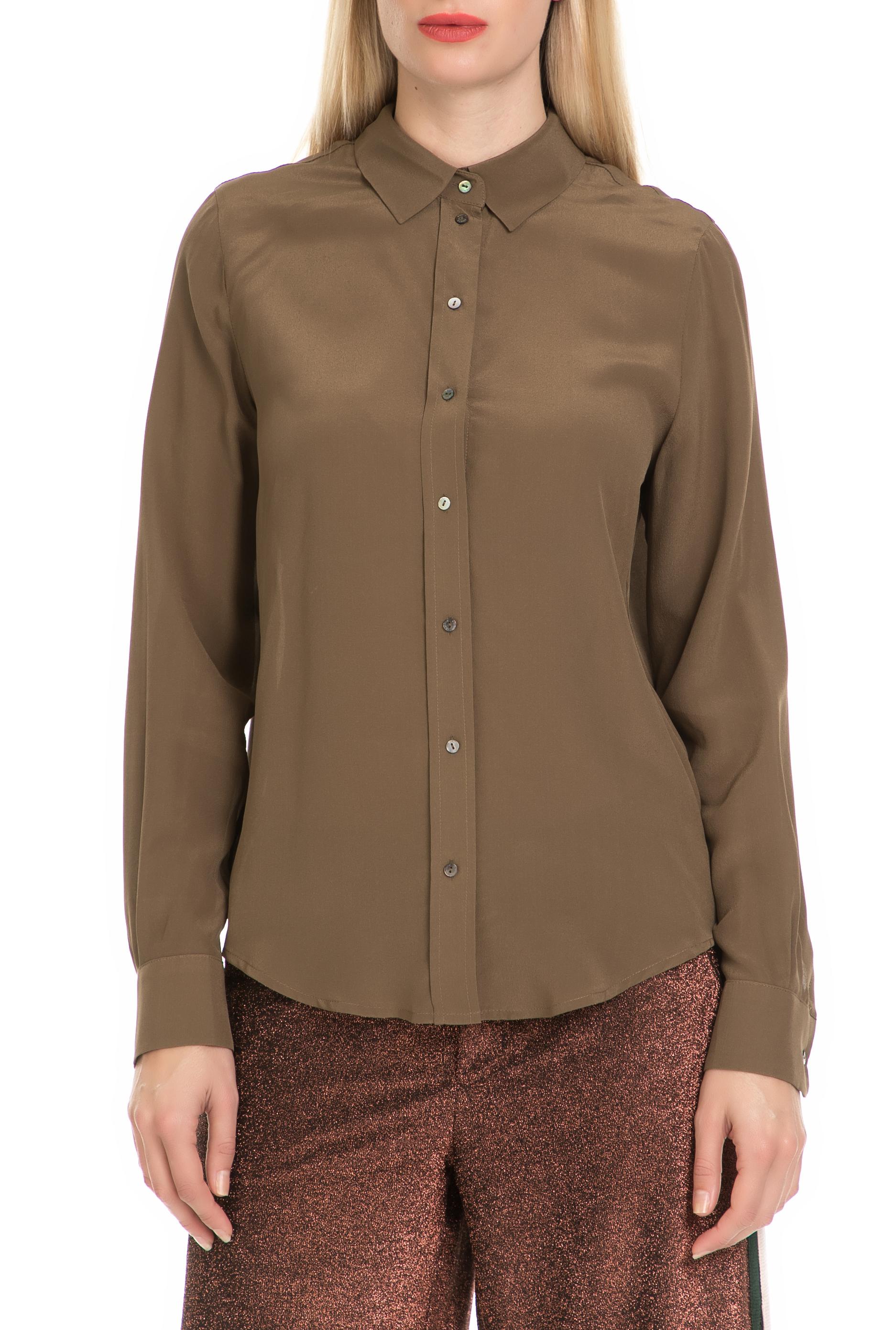 SCOTCH & SODA - Γυναικείο πουκάμισο SCOTCH & SODA καφέ γυναικεία ρούχα πουκάμισα μακρυμάνικα