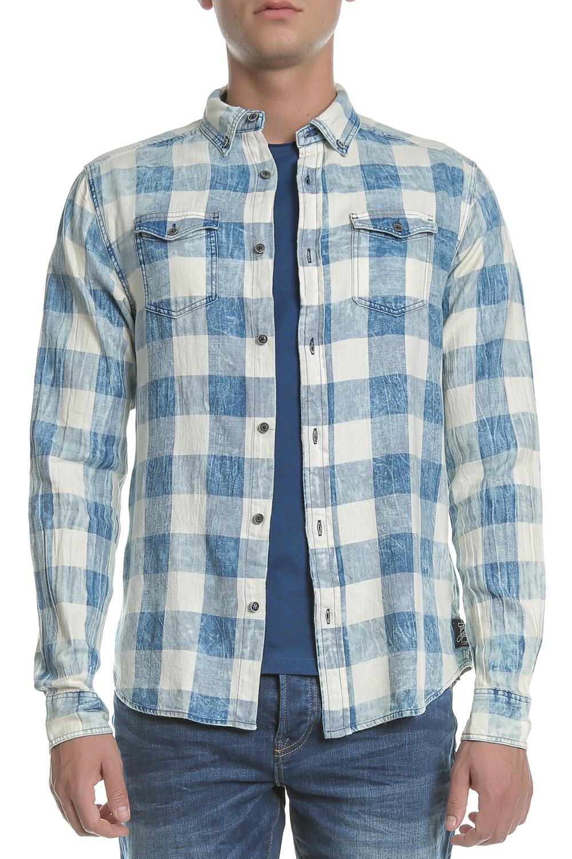 SCOTCH & SODA - Ανδρικό πουκάμισο Scotch & Soda καρό μπλε ανδρικά ρούχα πουκάμισα μακρυμάνικα