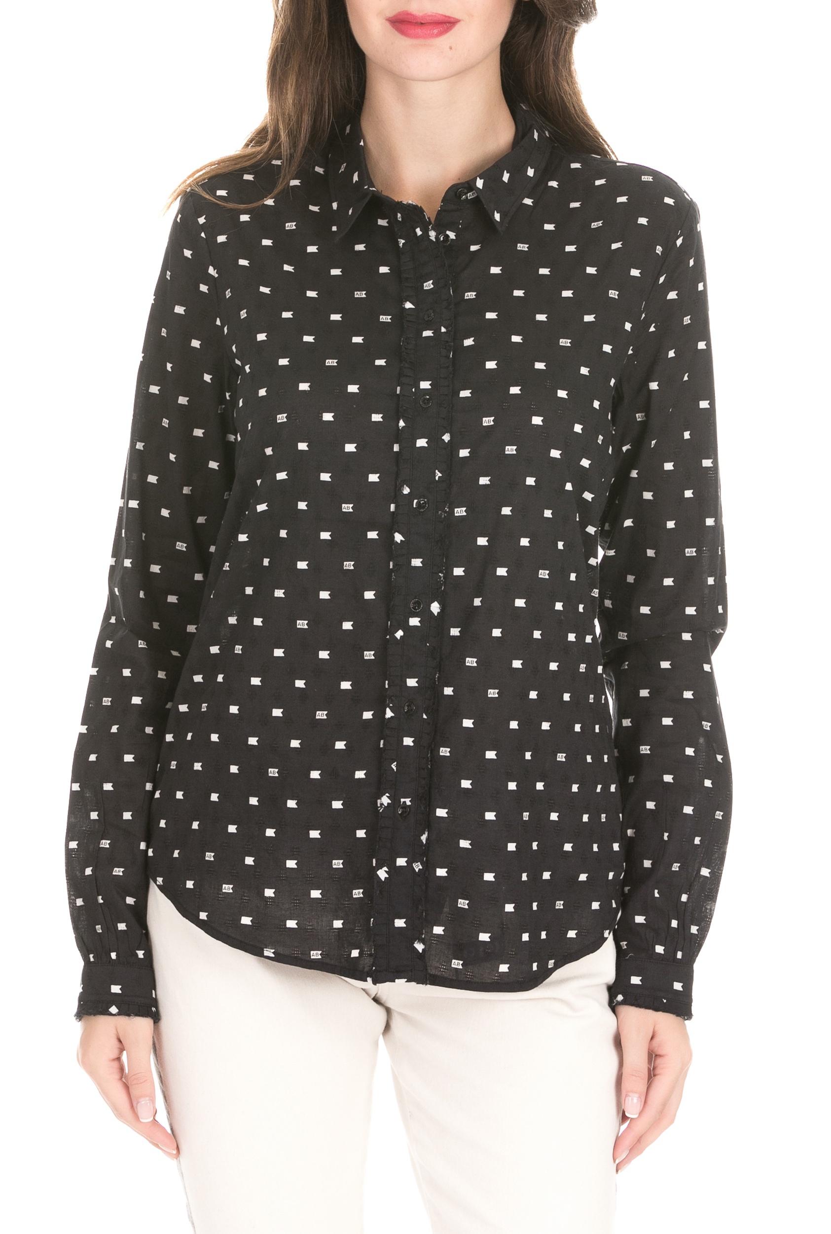 SCOTCH & SODA - Γυναικείο πουκάμισο SCOTCH & SODA μαύρο γυναικεία ρούχα πουκάμισα μακρυμάνικα