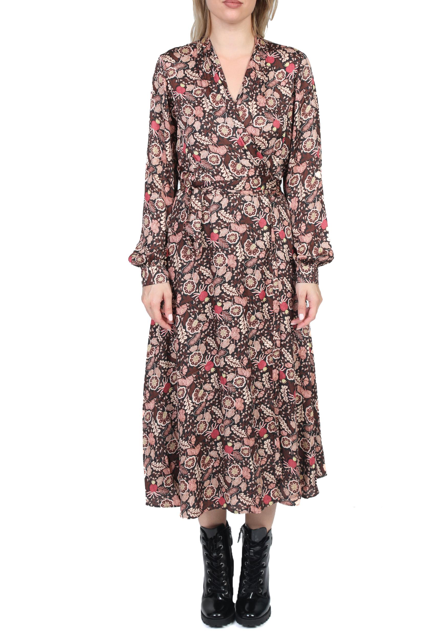 SCOTCH & SODA - Γυναικείο midi φόρεμα SCOTCH & SODA καφέ φλοράλ
