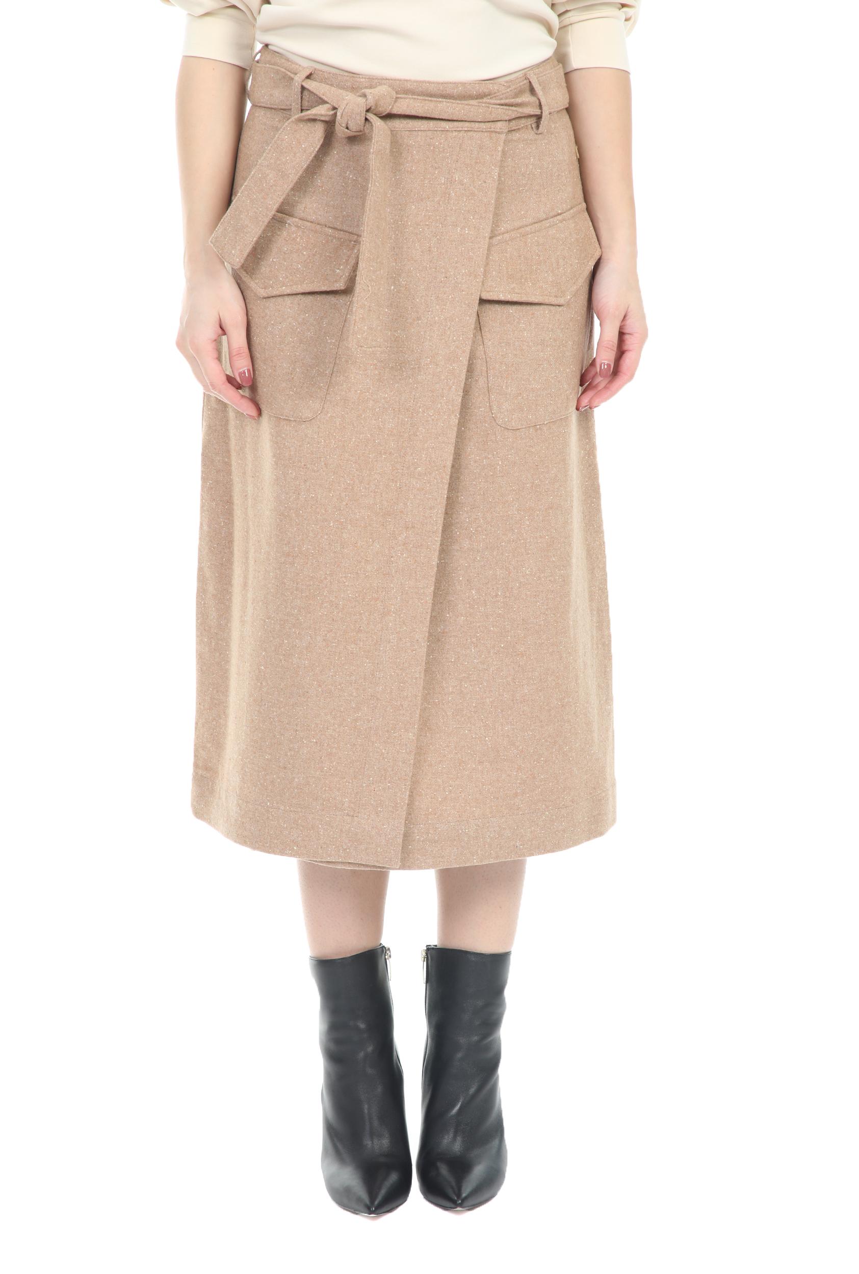 SCOTCH & SODA - Γυναικεία midi φούστα Wrap-over SCOTCH & SODA μπεζ