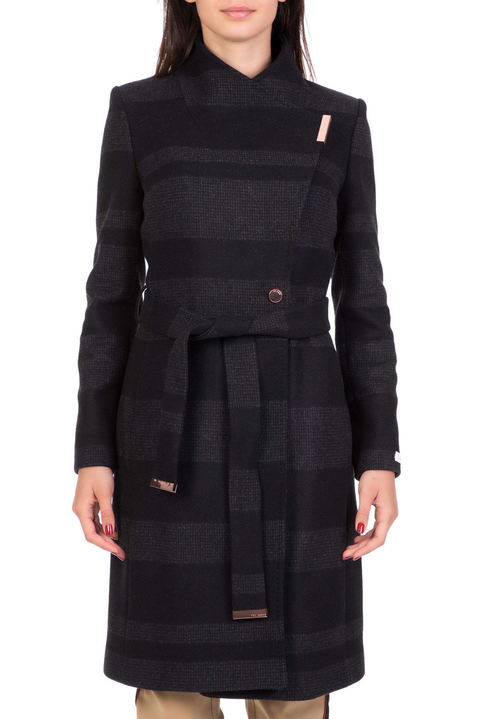 TED BAKER - Γυναικείο μακρύ ριγέ παλτό TED BAKER NARRLA μαύρο-γκρι b5d3e17c5ec