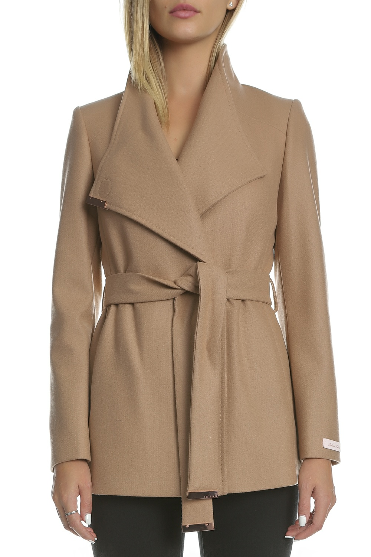 TED BAKER - Γυναικείο κοντό παλτό TED BAKER RYTAA καφέ ανοιχτό 6d5db1eecdf