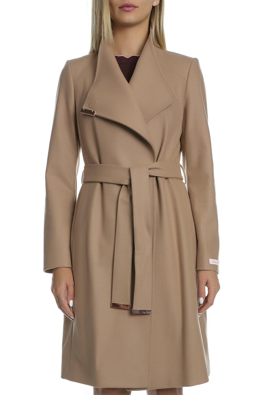 TED BAKER - Γυναικείο μακρύ παλτό TED BAKER SANDRA καφέ ανοιχτό 567a56a24b1