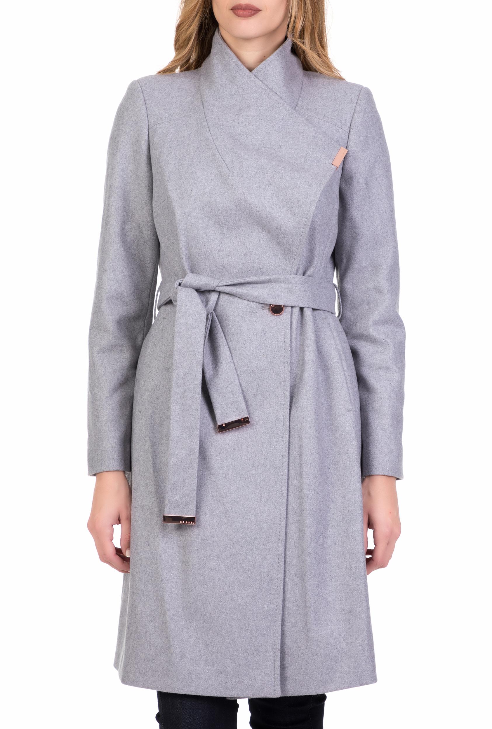 TED BAKER - Γυναικείο μακρύ παλτό TED BAKER SANDRA γκρι def6f017af4