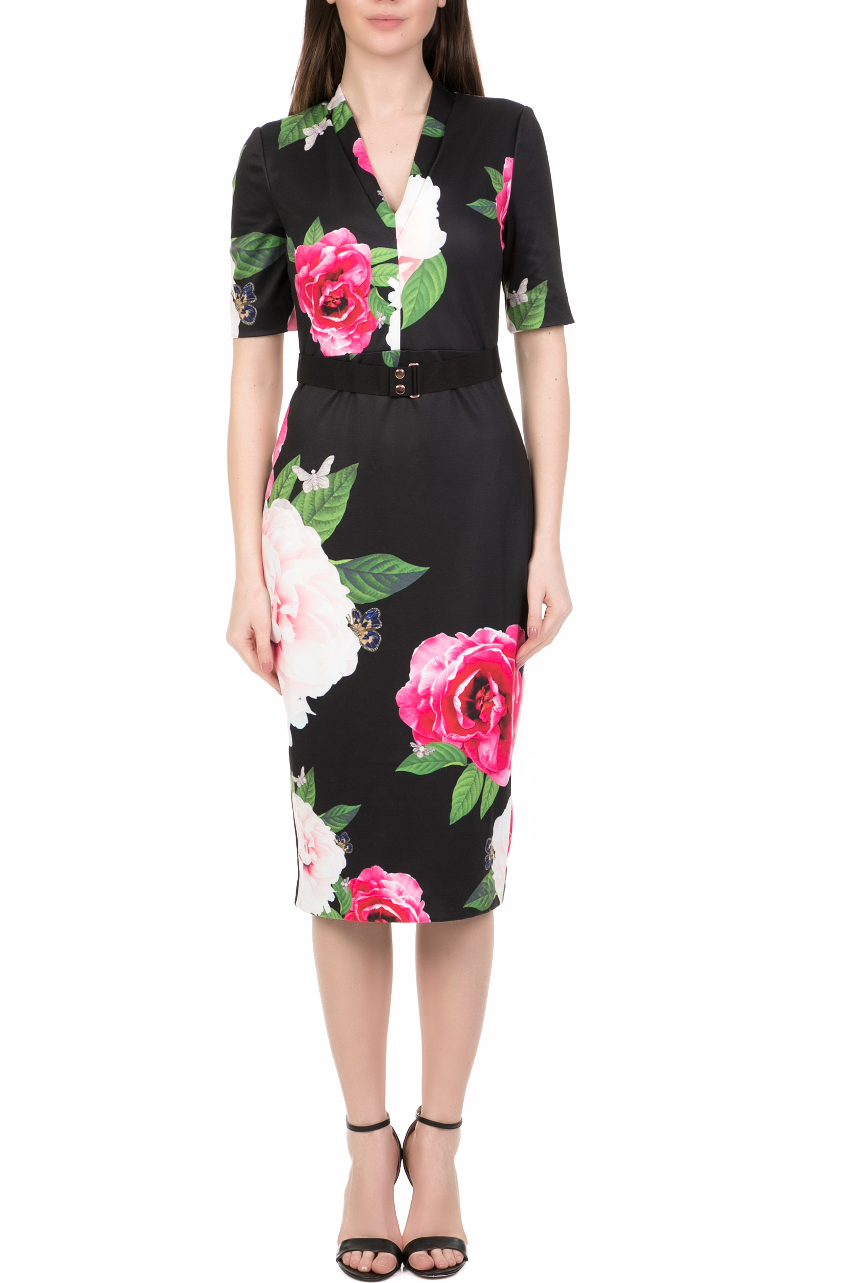98170acc6f4e TED BAKER - Γυναικείο midi pencil φόρεμα TED BAKER GILANNO μαύρο