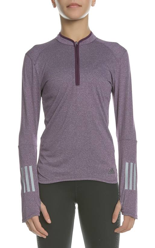 c3bfd0ae1c4a adidas Performance-Γυναικεία αθλητική μακρυμάνικη μπλούζα RS LS ZIP TEE W  μοβ
