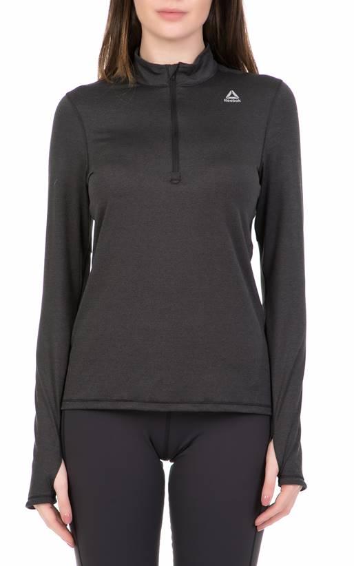 59b80a389e13 Reebok Fitness- Γυναικεία μακρυμάνικη μπλούζα Reebok 1 4 ZIP μαύρη ...