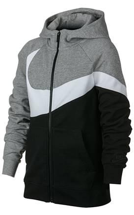 dcab937d52f6 NIKE. Αγορίστικη ζακέτα με κουκούλα Nike Sportswear γκρι-μαύρη