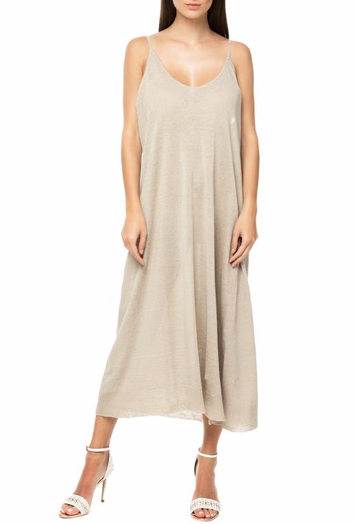 43b6a56686f3 AMERICAN VINTAGE-Γυναικείο midi φόρεμα AMERICAN VINTAGE FLAX234E18 μπεζ