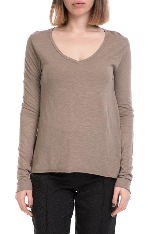 AMERICAN VINTAGE-Γυναικεία μπλούζα AMERICAN VINTAGE μπεζ