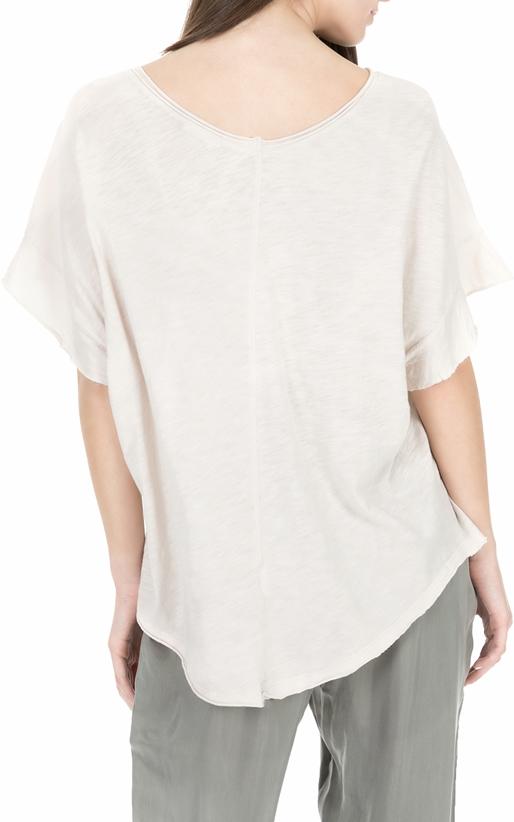 AMERICAN VINTAGE-Γυναικεία κοντομάνικη μπλούζα PIMS53E18 μπεζ
