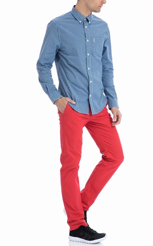 BEN SHERMAN-Ανδρικό πουκάμισο Ben Sherman μπλε-λευκό