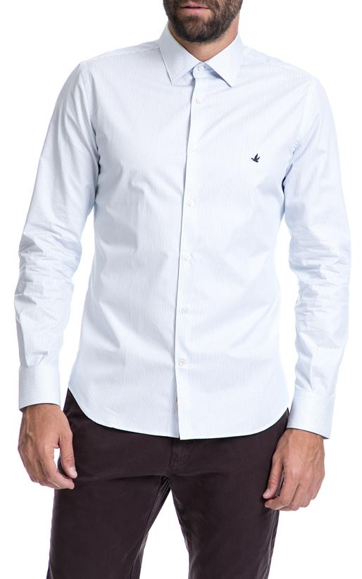 BROOKSFIELD-Αντρικό πουκάμισο BROOKSFIELD άσπρο-μπλε