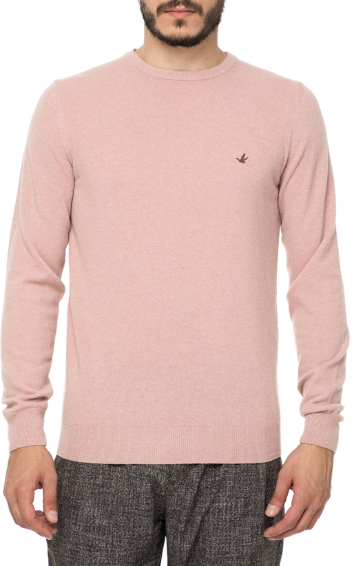 BROOKSFIELD-Ανδρική πλεκτή μπλούζα BROOKSFIELD ροζ 13289ec5dc4