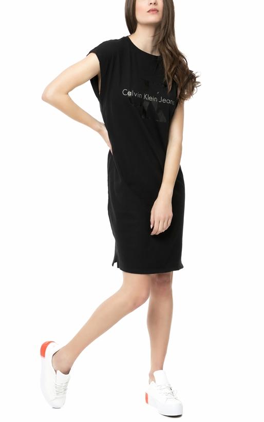 CALVIN KLEIN JEANS-Γυναικείο μίνι φόρεμα Calvin Klein Jeans DOON TRUE ICON  μαύρο 41f8659d114