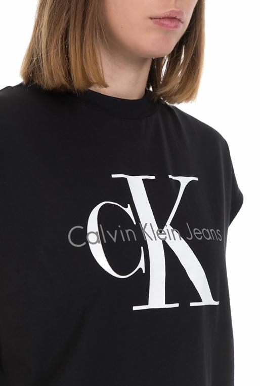 4bac0bc38499 CALVIN KLEIN JEANS-Γυναικεία κοντομάνικη μπλούζα Calvin Klein Jeans μαύρη