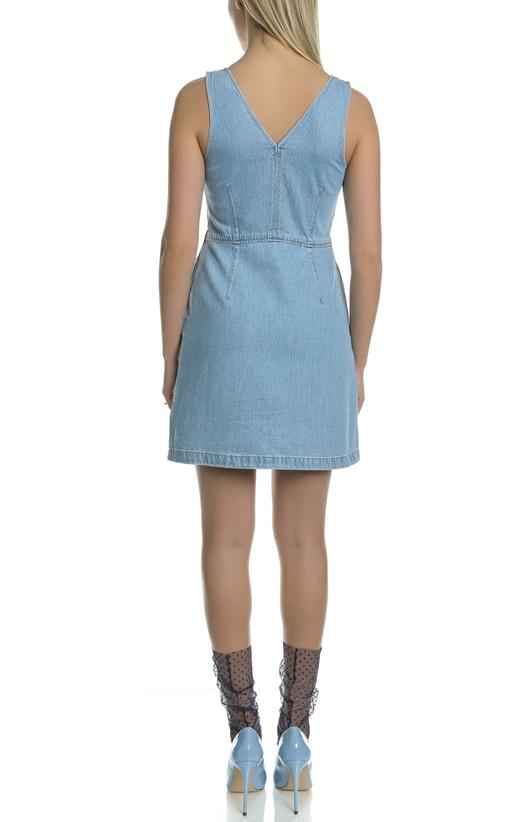 CALVIN KLEIN JEANS-Γυναικείο αμάνικο τζιν μίνι φόρεμα Calvin Klein Jeans μπλε