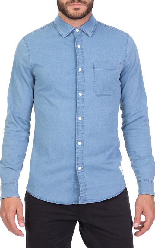 CALVIN KLEIN JEANS-Ανδρικό μακρυμάνικο πουκάμισο CHAMBRAY SLIM FIT ντένιμ 649857d99f9