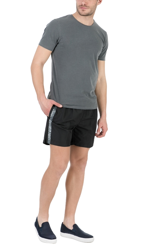 CK UNDERWEAR-Ανδρικό μαγιό σορτς CK Underwear MEDIUM DRAWSTRING μαύρο