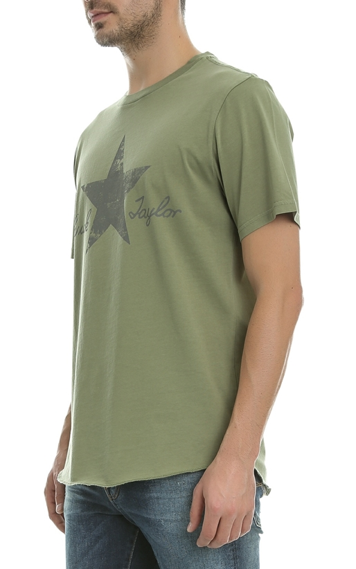 CONVERSE-Ανδρικό t-shirt Converse Washed Reflective Tee χακί