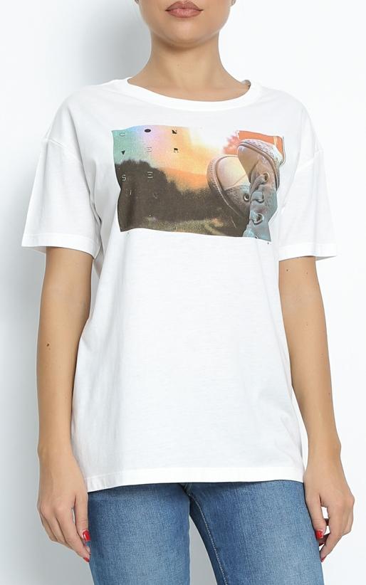 CONVERSE-Γυναικείο t-shirt Converse Photo Chucks Up Easy λευκό