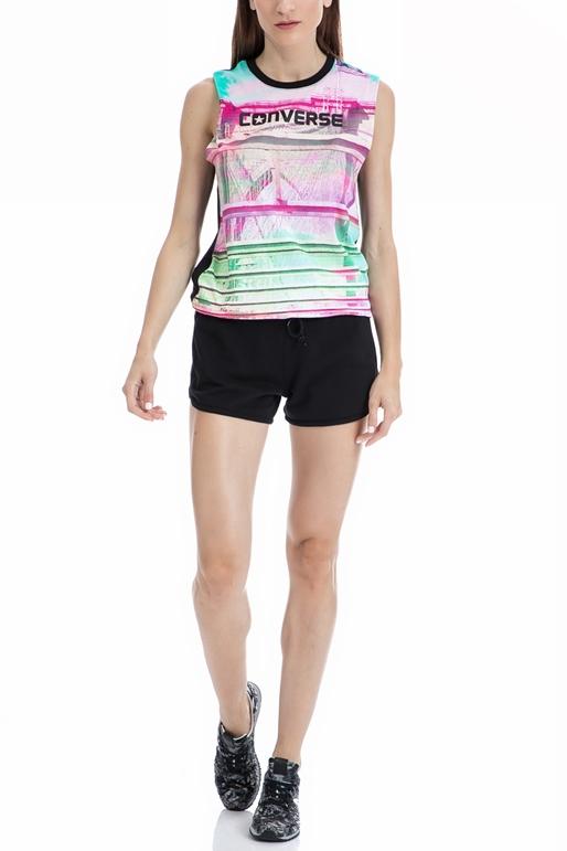 CONVERSE-Γυναικεία μπλούζα Converse μαύρη-ροζ
