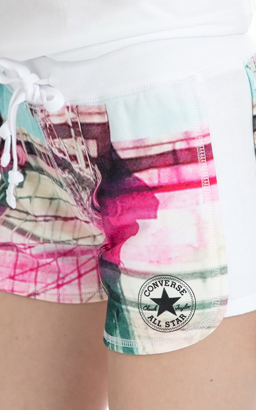 CONVERSE-Γυναικείο σορτς Converse ροζ-λευκό