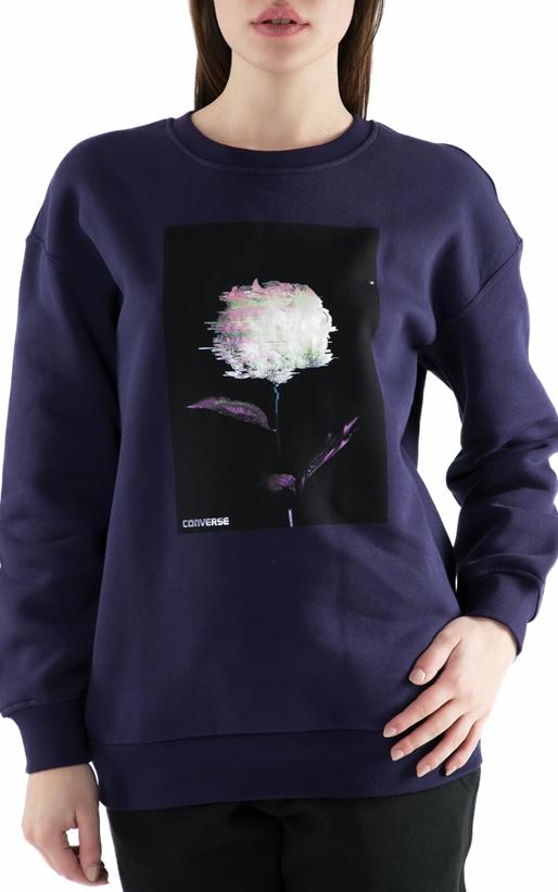 CONVERSE-Γυναικεία φούτερ μπλούζα Converse Shine Pack Graphic Oversized μοβ