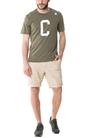 CONVERSE-Ανδρική κοντομάνικη μπλούζα Essentials Collegiate λαδί