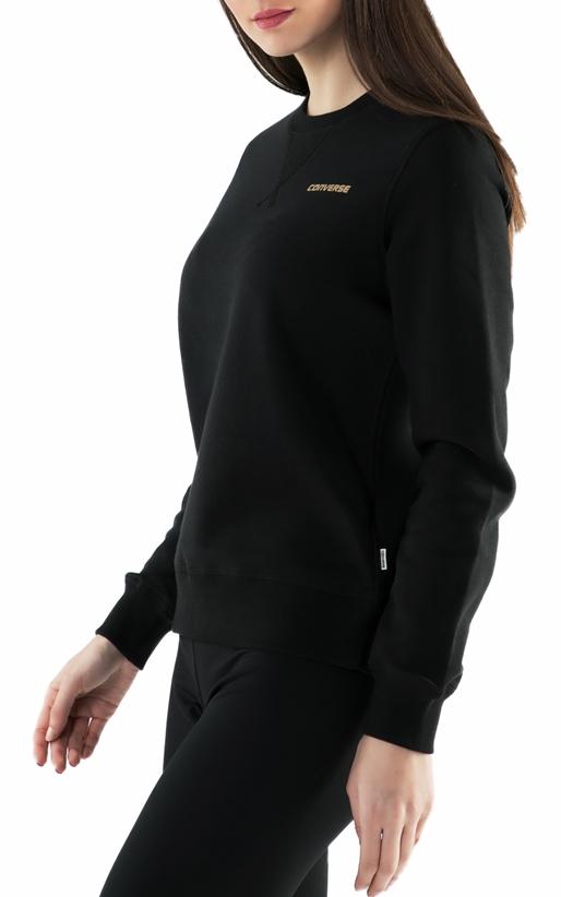 CONVERSE-Γυναικεία φούτερ μπλούζα Converse metallic wordmark μαύρη