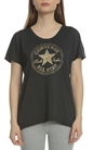 CONVERSE-Γυναικεία κοντομάνικη μπλούζα Converse μαύρη