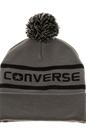 CONVERSE-Unisex σκούφος Converse WORDMARK POM KNIT γκρι