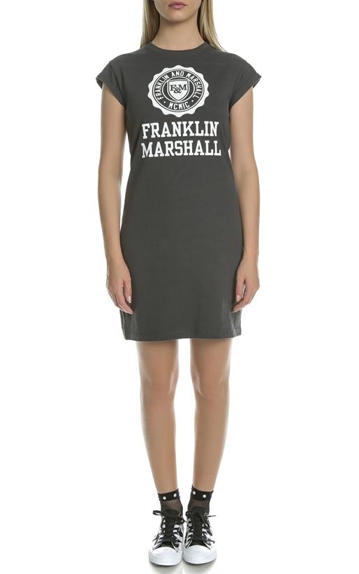 FRANKLIN & MARSHALL-Γυναικείο μίνι φόρεμα Franklin & Marshall JERSEY ROUND NECK ανθρακί