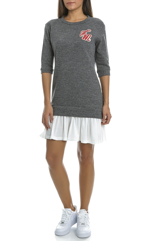FRANKLIN & MARSHAL-Μίνι φόρεμα Franklin & Marshall γκρι-λευκό