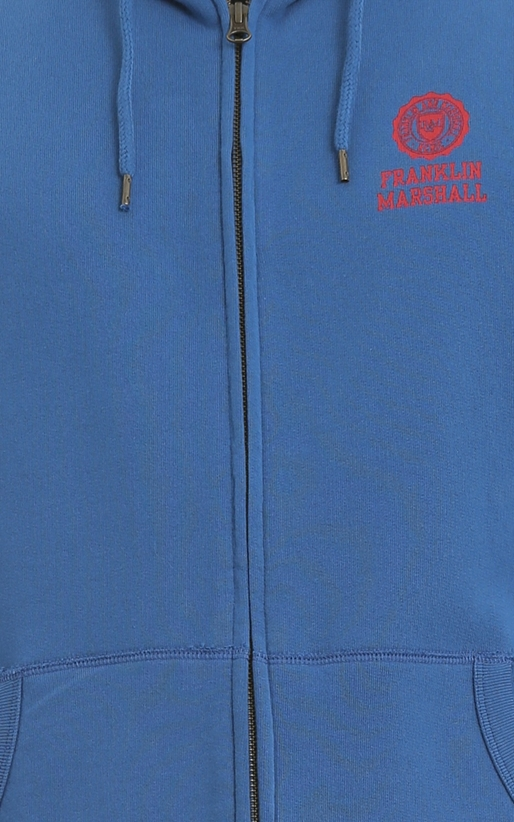 FRANKLIN & MARSHALL-Ανδρική ζακέτα FLEECE FLEECE ZIP + HOOD LONG μπλε