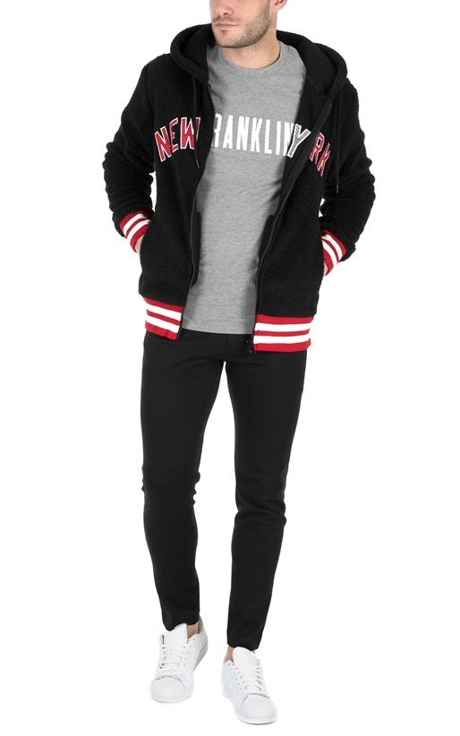 FRANKLIN & MARSHALL-Ανδρική φούτερ ζακέτα FRANKLIN & MARSHALL μαύρη-κόκκινη