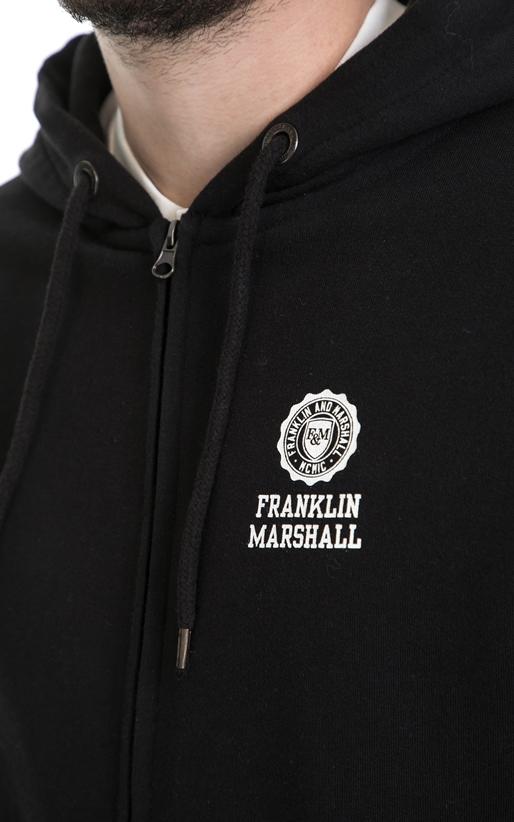 FRANKLIN & MARSHALL-Ανδρική φούτερ ζακέτα FRANKLIN & MARSHALL μαύρη