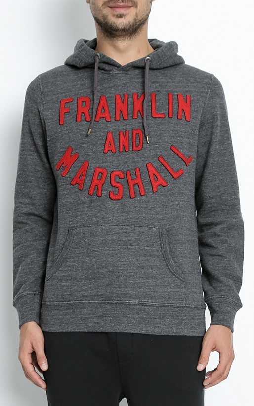 FRANKLIN & MARSHALL-Ανδρικό φούτερ FRANKLIN & MARSHALL γκρι