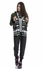 FRANKLIN & MARSHALL-Γυναικεία ζακέτα FRANKLIN & MARSHALL μαύρη-γκρι