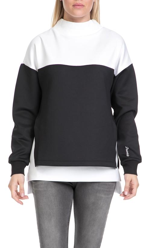 FRANKLIN & MARSHALL-Γυναικεία φλις μπλούζα FRANKLIN & MARSHALL λευκή-μαύρη