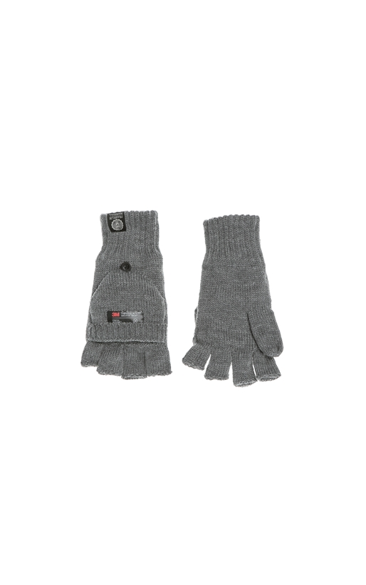 FRANKLIN & MARSHALL-Πλεκτά γάντια FRANKLIN & MARSHALL γκρι