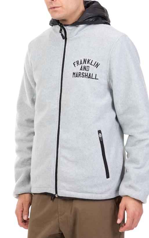 FRANKLIN & MARSHALL-Ανδρικό διπλό μπουφάν FRANKLIN & MARSHALL χακί-μπεζ-γκρι