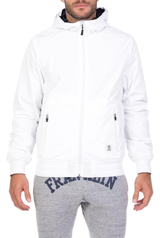72e0b3594f0 FRANKLIN & MARSHALL-Ανδρικό μπουφάν διπλής όψης Franklin & Marshall λευκό -μπλε
