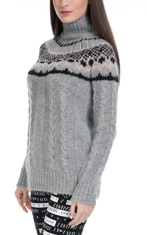 FRANKLIN & MARSHALL-Γυναικείο πουλόβερ FRANKLIN & MARSHALL γκρι