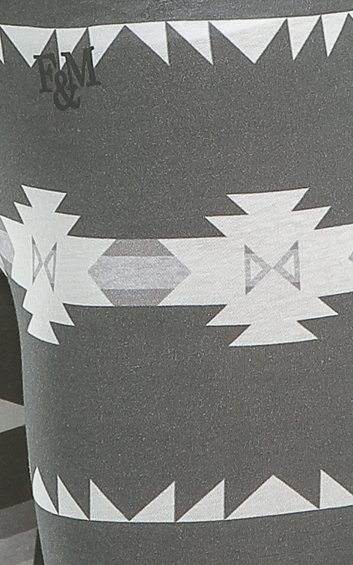 FRANKLIN & MARSHALL-Γυναικείο κολάν Franklin & Marshall aztec print λευκό-γκρι