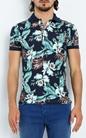 FRANKLIN & MARSHALL-Ανδρική πόλο μπλούζα FRANKLIN & MARSHALL μπλε με φλοράλ μοτίβο