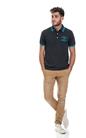 FRANKLIN & MARSHALL-Ανδρική μπλούζα POLO PIQUET CLASSIC FRANKLIN & MARSHALL μαύρη-μπλε