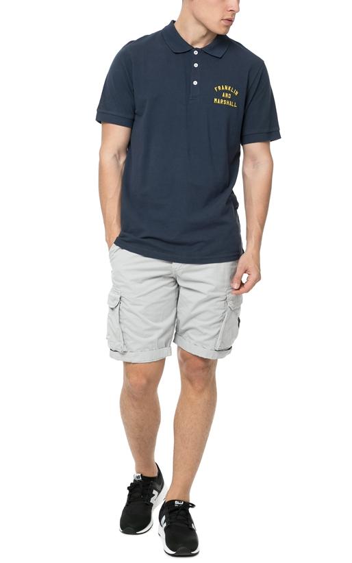 FRANKLIN & MARSHALL-Ανδρικό πόλο t-shirt Franklin & Marshall σκούρο μπλε